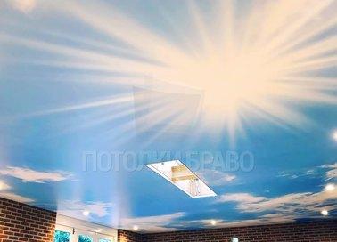 Сатиновый натяжной потолок с изображением неба НП-174 - фото 2