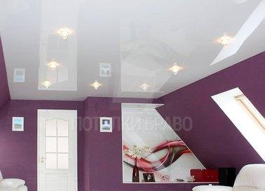 Глянцевый натяжной потолок со светильниками НП-195