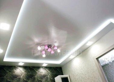 Сатиновый двухуровневый с подсветкой натяжной потолок НП-282