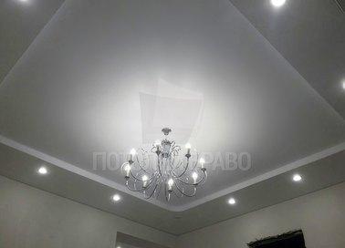 Матовый двухцветный серый с белым натяжной потолок НП-285
