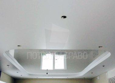 Сатиновый белый в спальню натяжной потолок НП-287
