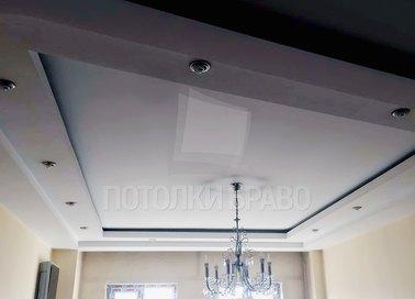 Матово-сатиновый натяжной потолок с люстрой НП-295