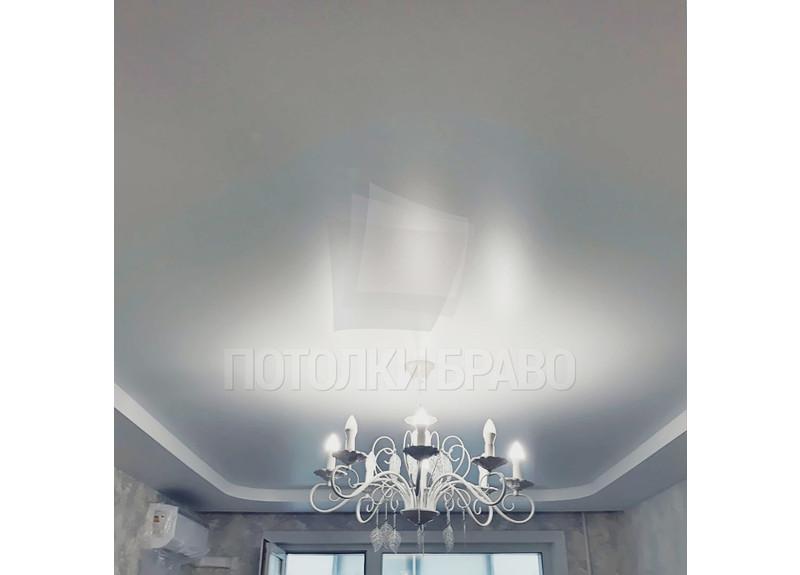 Двухуровневый серый матовый натяжной потолок НП-302