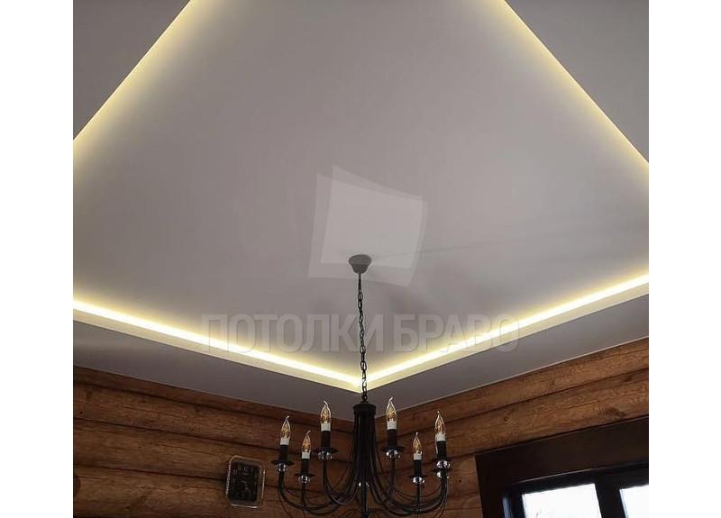 Матовый натяжной потолок с желтой подсветкой НП-303