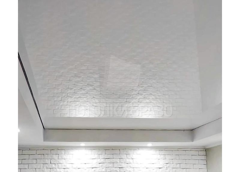 Белый зеркальный натяжной потолок НП-308