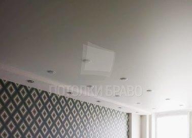 Молочный натяжной потолок со светильниками НП-309