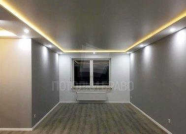 Серый матовый натяжной потолок с желтой подсветкой НП-313