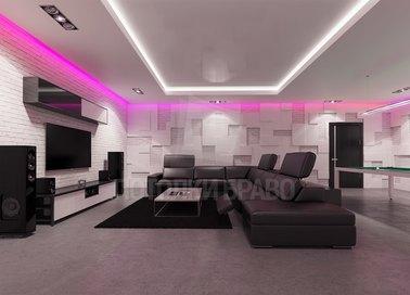 Сложный натяжной потолок с сиреневой подсветкой НП-321 - фото 3