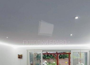 Серый матовый натяжной потолок с LED-диодами НП-323