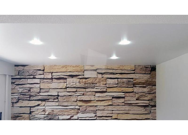 Белый сатиновый натяжной потолок в стиле Лофт НП-324