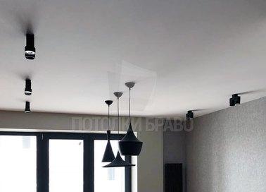 Классический современный серый натяжной потолок НП-345