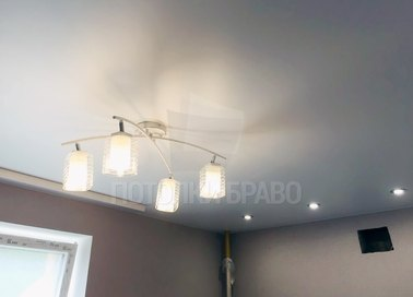 Серый матовый натяжной потолок НП-379