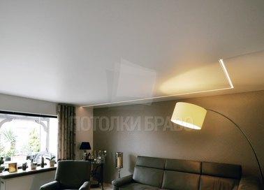 Матовый белый натяжной потолок в стиле модерн НП-401 - фото 2