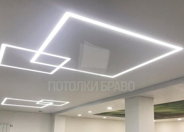 Матовый белый натяжной потолок для офисных помещений НП-405