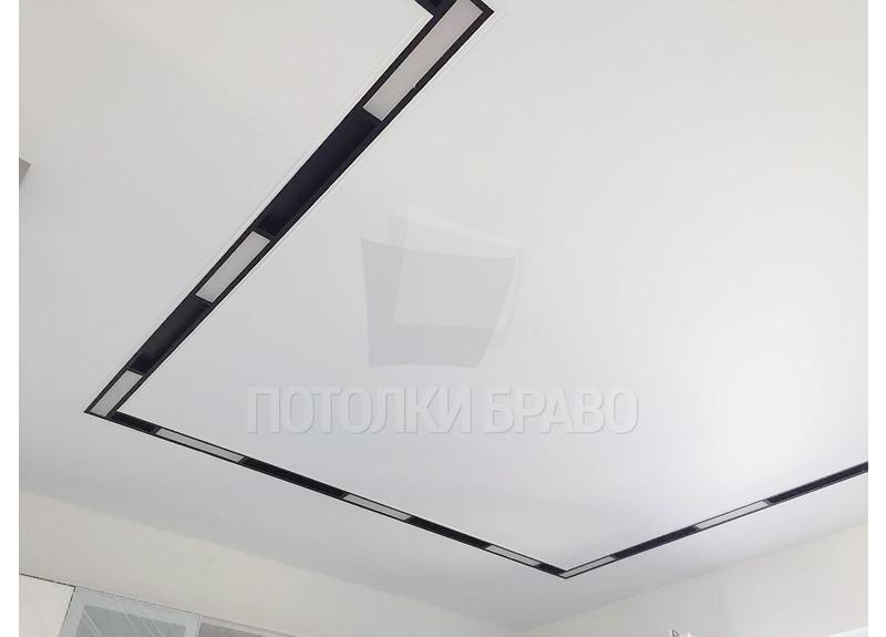 Белый матовый натяжной потолок с черным контуром НП-406