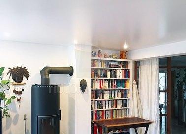 Сатиновый белый натяжной потолок скандинавский стиль НП-435