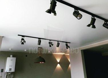 Сатиновый белый натяжной потолок под лампы НП-444 - фото 2