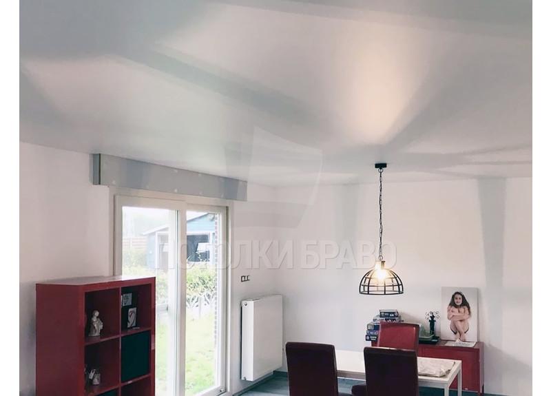 Сатиновый белый натяжной потолок для квартиры-студии НП-448 - фото 2