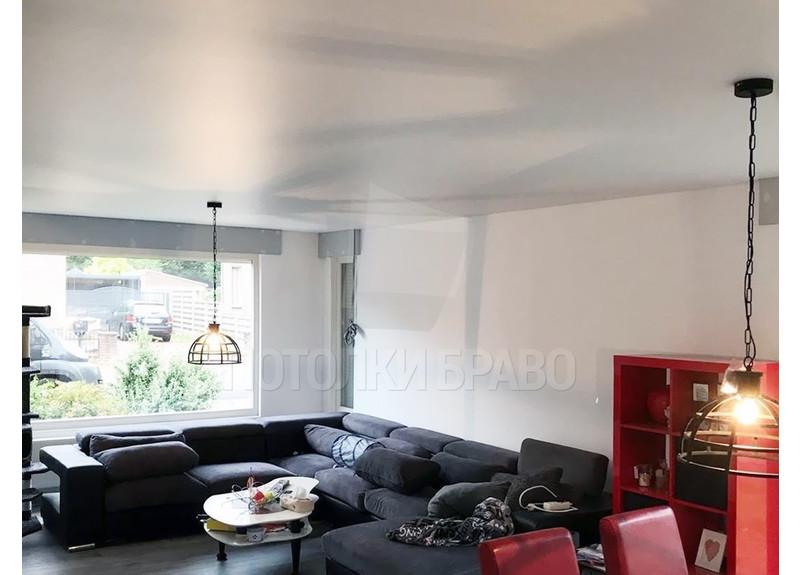 Сатиновый белый натяжной потолок для квартиры-студии НП-448 - фото 4