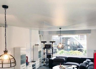 Сатиновый белый натяжной потолок для квартиры-студии НП-448