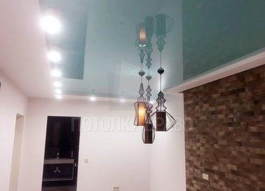 Серый матово-глянцевый натяжной потолок с подсветкой НП-456