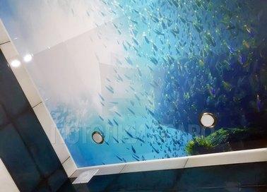 Матовый натяжной потолок в современном стиле для ванной НП-462 - фото 2