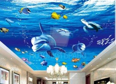 Матовый натяжной потолок с морской тематикой для гостиной НП-463