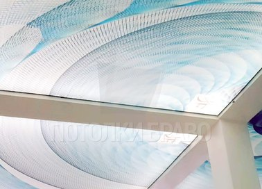 Матовый натяжной потолок с геометрическими изображениями НП-484