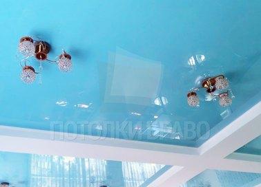 Глянцевый голубой натяжной потолок НП-485