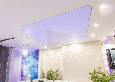 Матовый натяжной потолок с сиреневым освещением НП-487