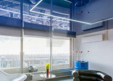 Глянцевый синий натяжной потолок НП-488