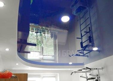 Двухуровневый синий натяжной потолок НП-491