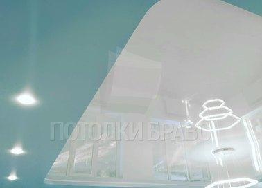 Двухуровневый голубой натяжной потолок НП-497
