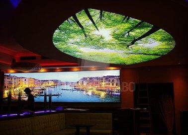 Матовый натяжной потолок с изображением леса для ресторана НП-501