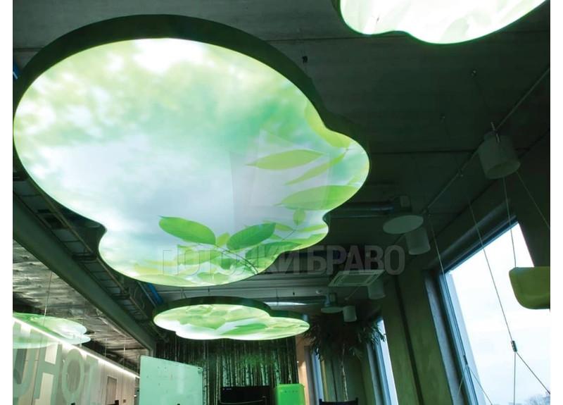 Двухуровневый натяжной потолок с изображением леса НП-502
