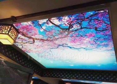 Натяжной потолок с сакурой для общественного помещения НП-504