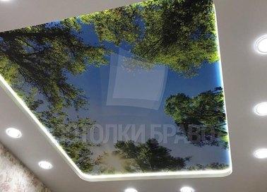 Матовый натяжной потолок со светильниками НП-506