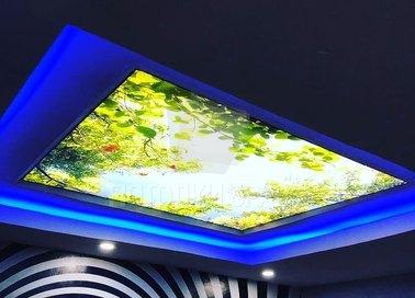 Синий матовый натяжной потолок с листьями НП-515