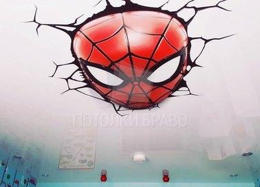 Сатиновый натяжной потолок с человеком-пауком НП-522