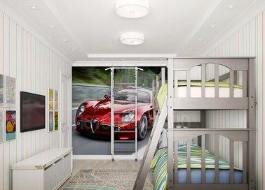 Сложный натяжной потолок для жилой комнаты НП-524