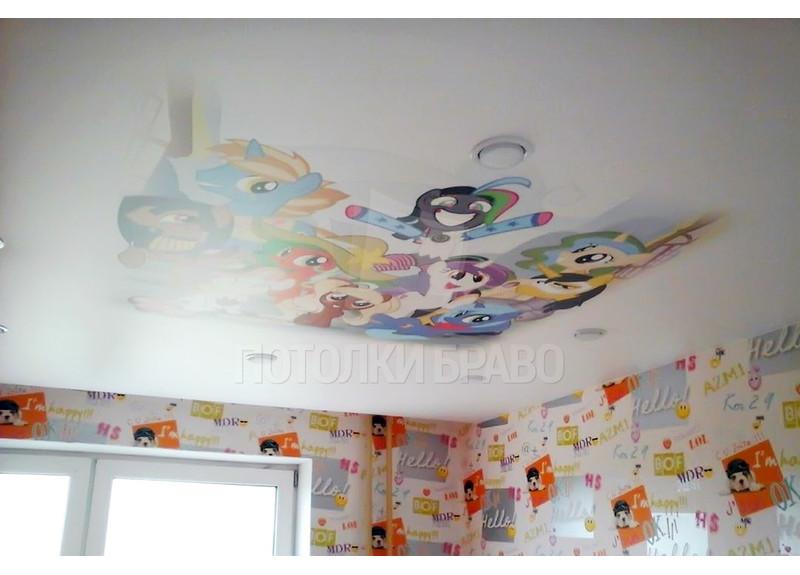 Сатиновый натяжной потолок с героями мультфильмов НП-529