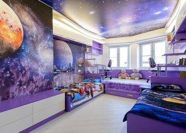 Сатиновый натяжной потолок с изображением космоса НП-532