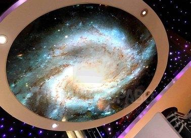 Черный матовый натяжной потолок с космическим рисунком НП-547