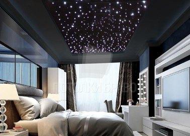 Матовый черный натяжной потолок со звездным небом НП-548