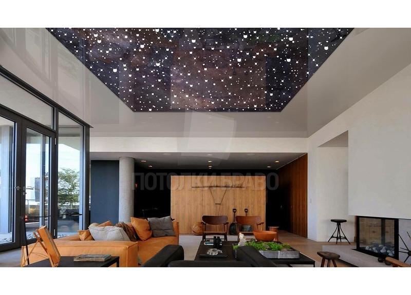 Матовый натяжной потолок с темным звездным небом НП-549
