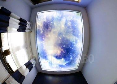 Матовый натяжной потолок со вставкой звездного неба НП-553