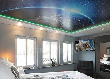 Сатиновый космический натяжной потолок для спальни НП-557 - фото 2