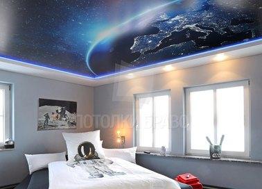 Сатиновый космический натяжной потолок для спальни НП-557