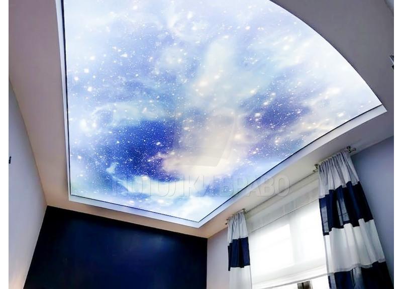 Матовый натяжной потолок со звездным небом НП-558