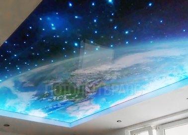 Матовый космический натяжной потолок со звездным небом НП-561